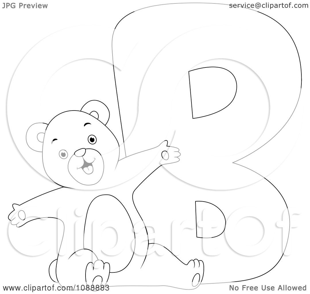 Clipart Outlined B Is For Bear Coloring Page