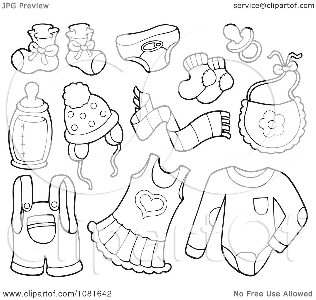 Clipart Outlined Baby Clothes And Items