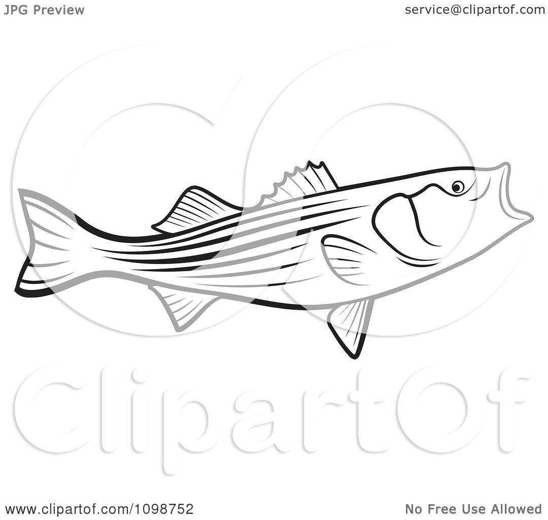 Clipart Outlined Bass Fish With An Open Mouth