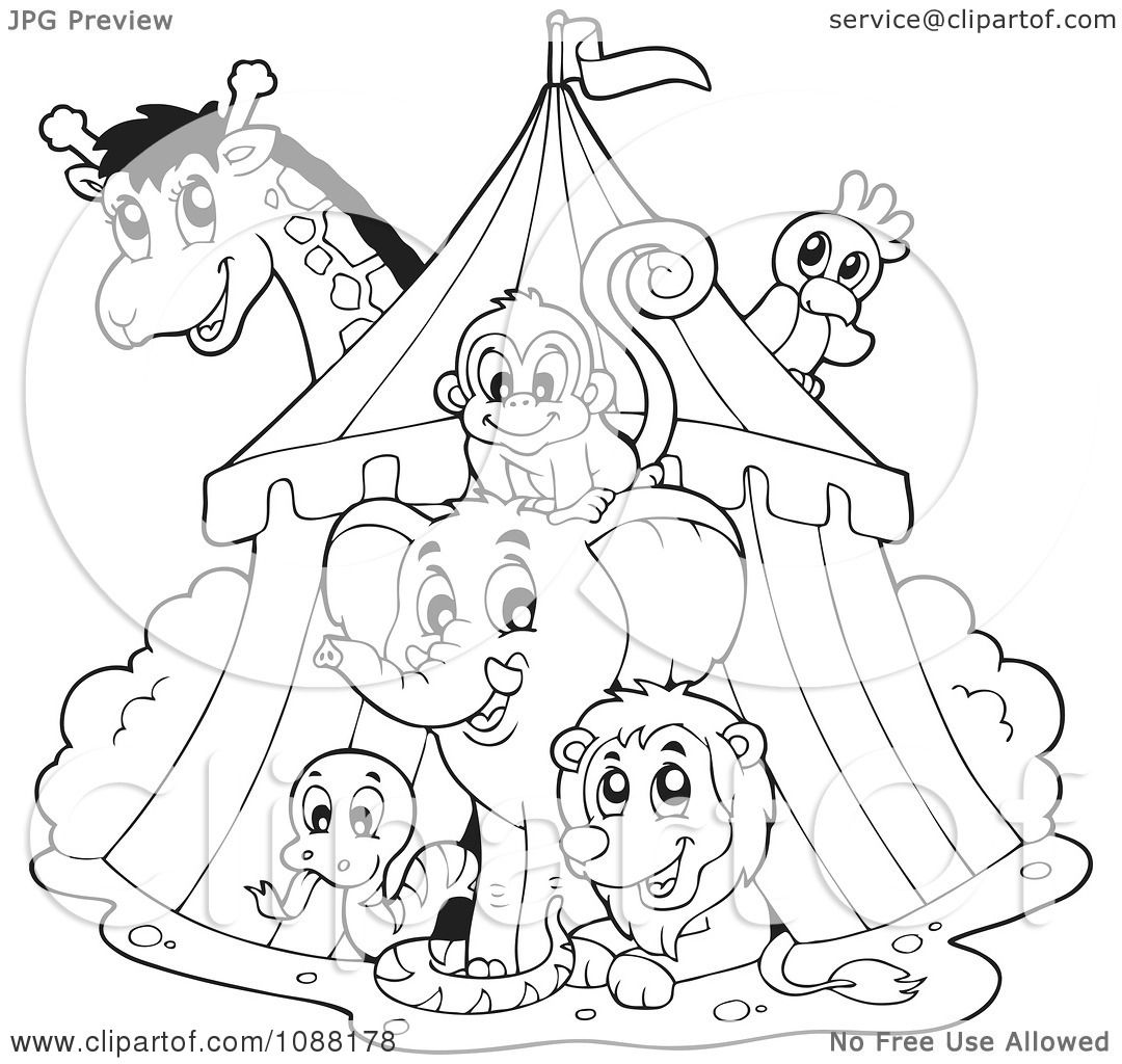Clipart Outlined Big Top Circus Tent And Animals