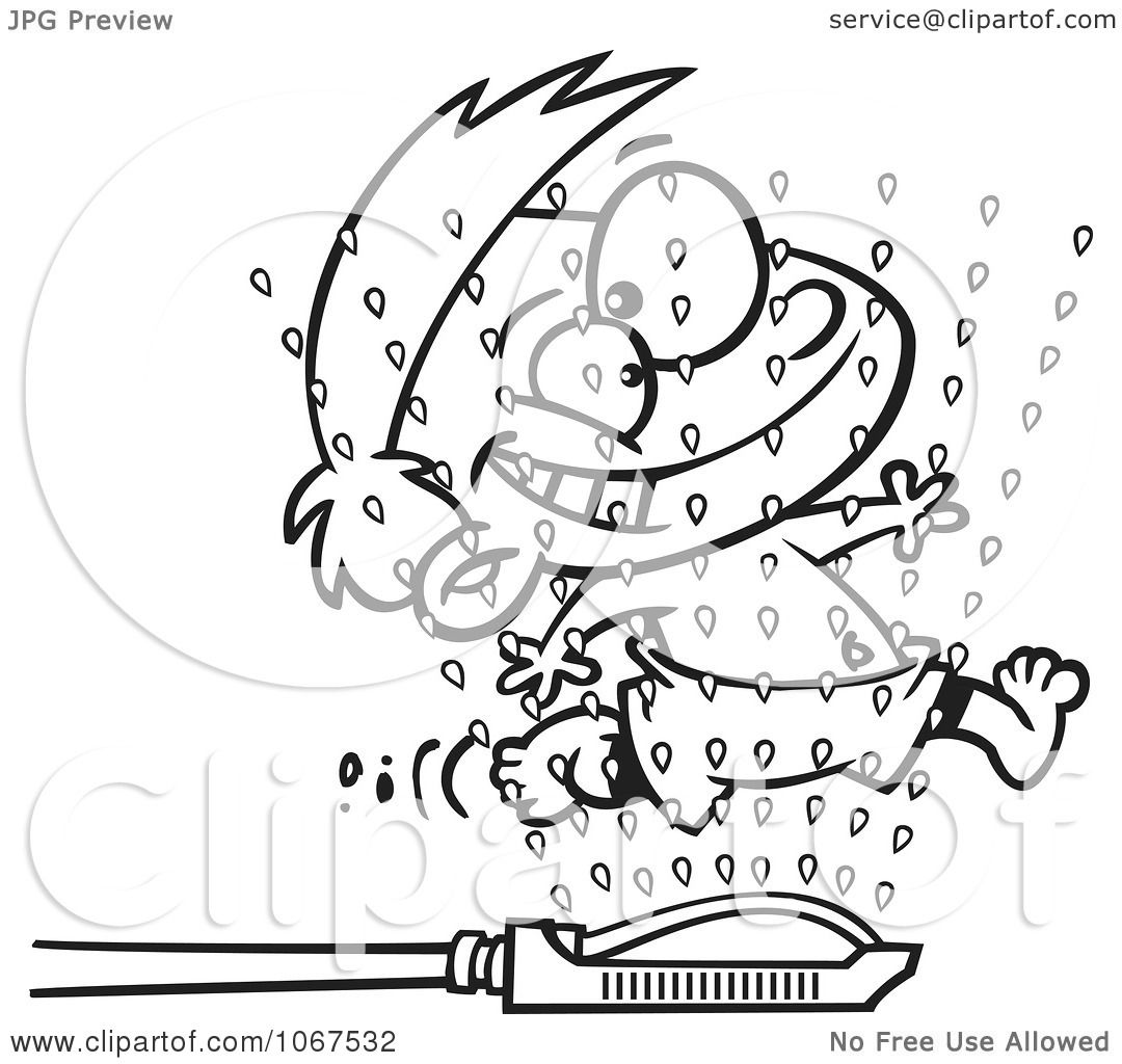 Clipart Outlined Boy Running Through Sprinklers