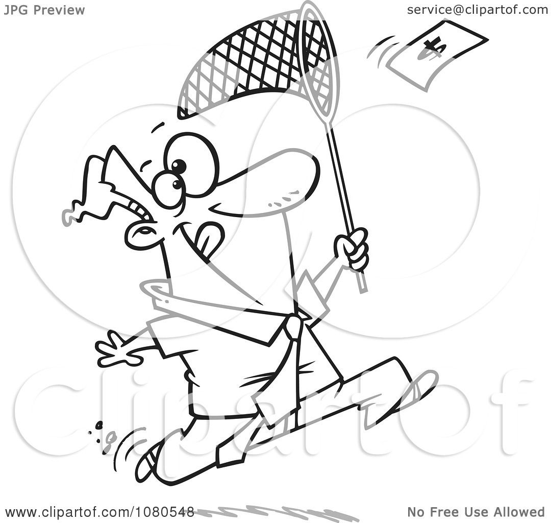 Clipart Outlined Businessman Chasing Money With A Net