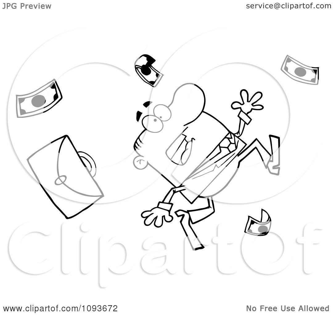Clipart Outlined Businessman Tripping And Dropping Money