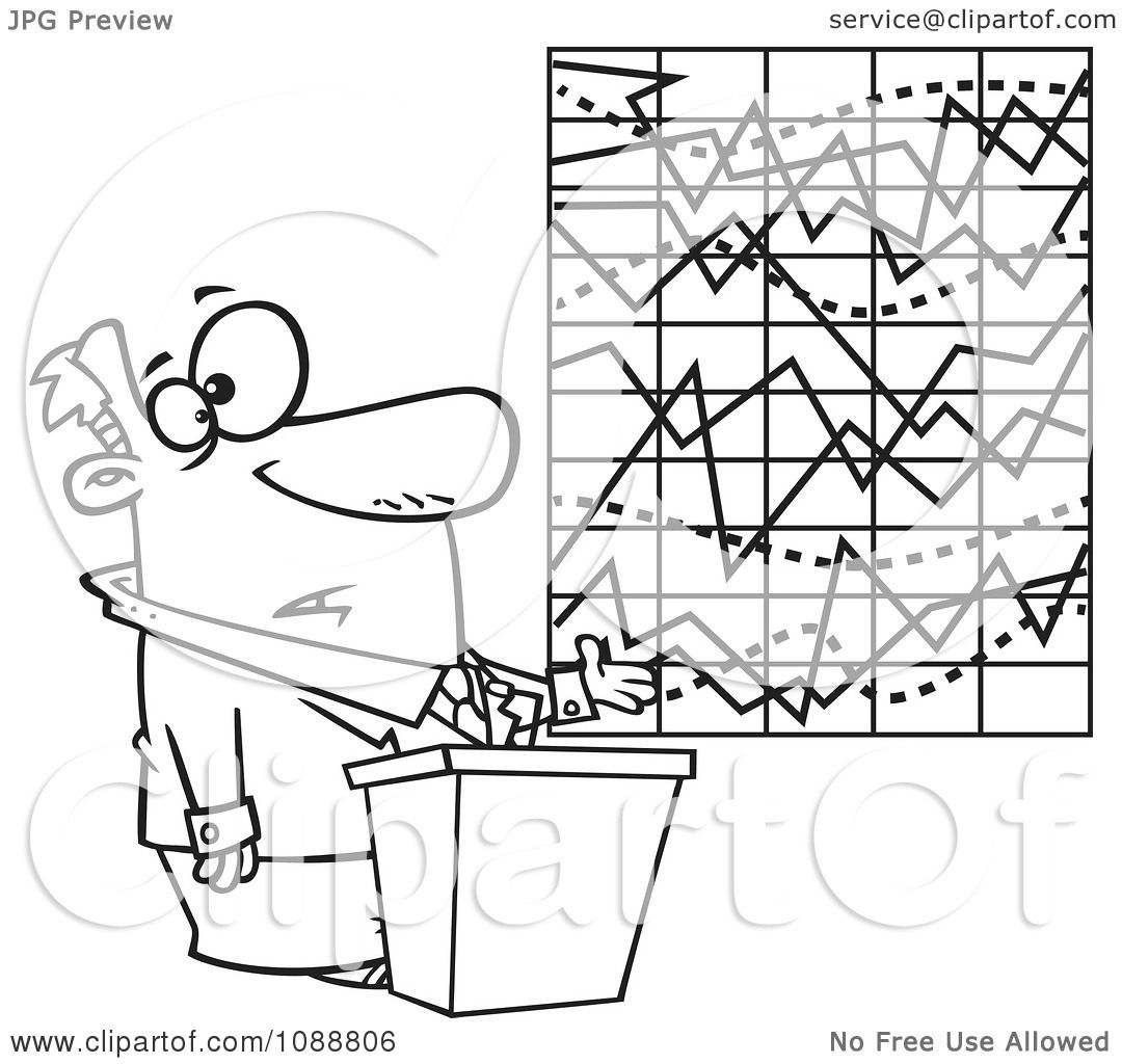 Clipart Outlined Businessman Trying To Explain A Messed Up