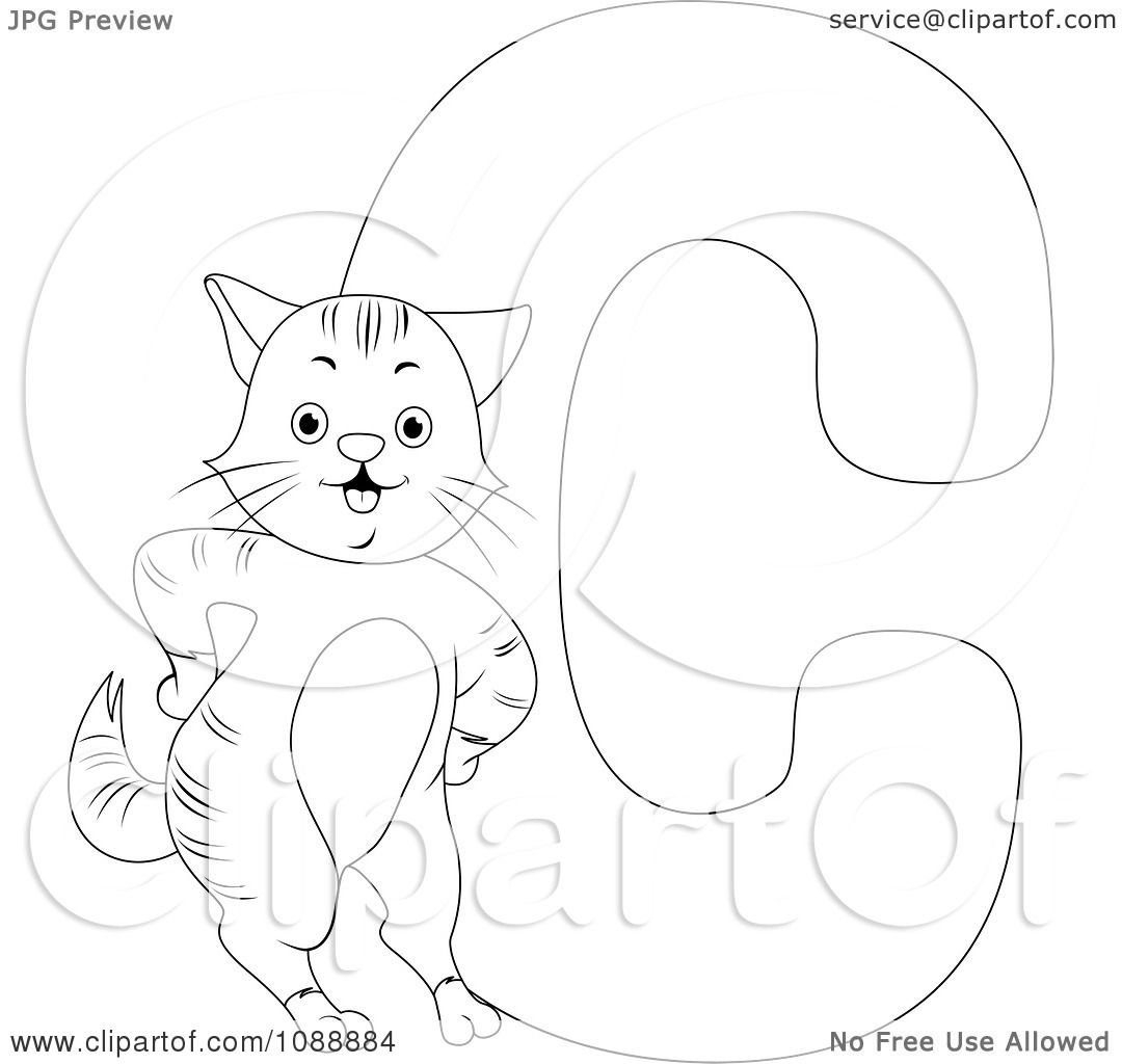 Clipart Outlined C Is For Cat Coloring Page
