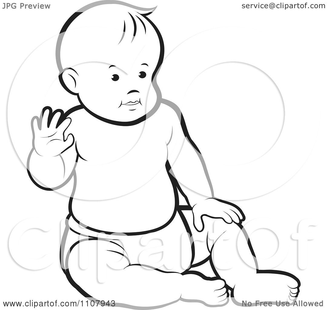 Clipart Outlined Caucasian Baby Boy Sitting Up And Waving