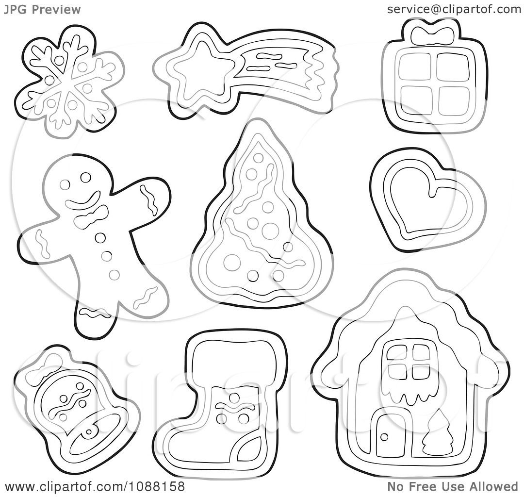 Clipart Outlined Christmas Snowflake Star T Heart Tree