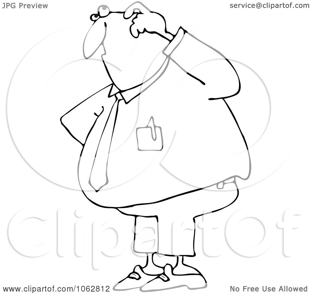 Clipart Outlined Confused Businessman