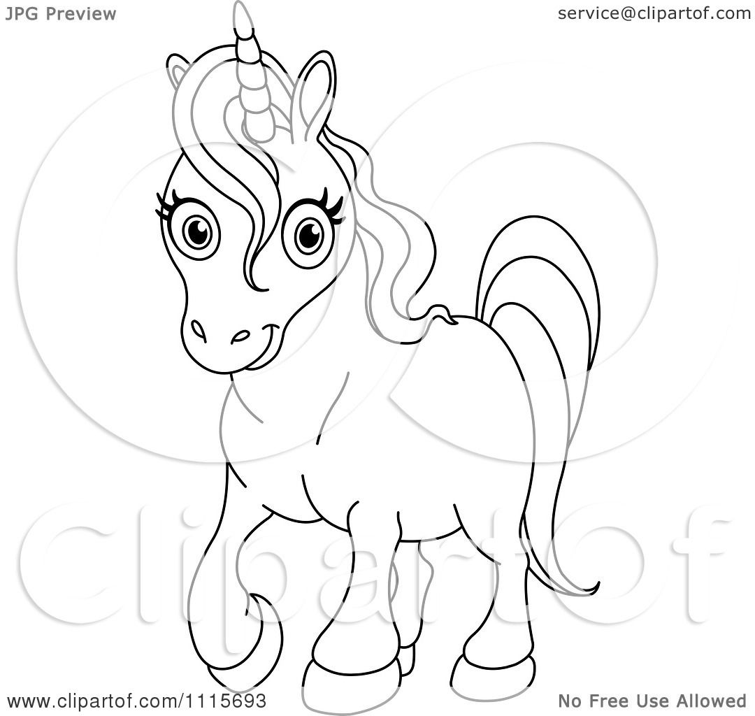 Clipart Outlined Cute Unicorn