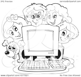 computer children clipart outlined around vector dog visekart