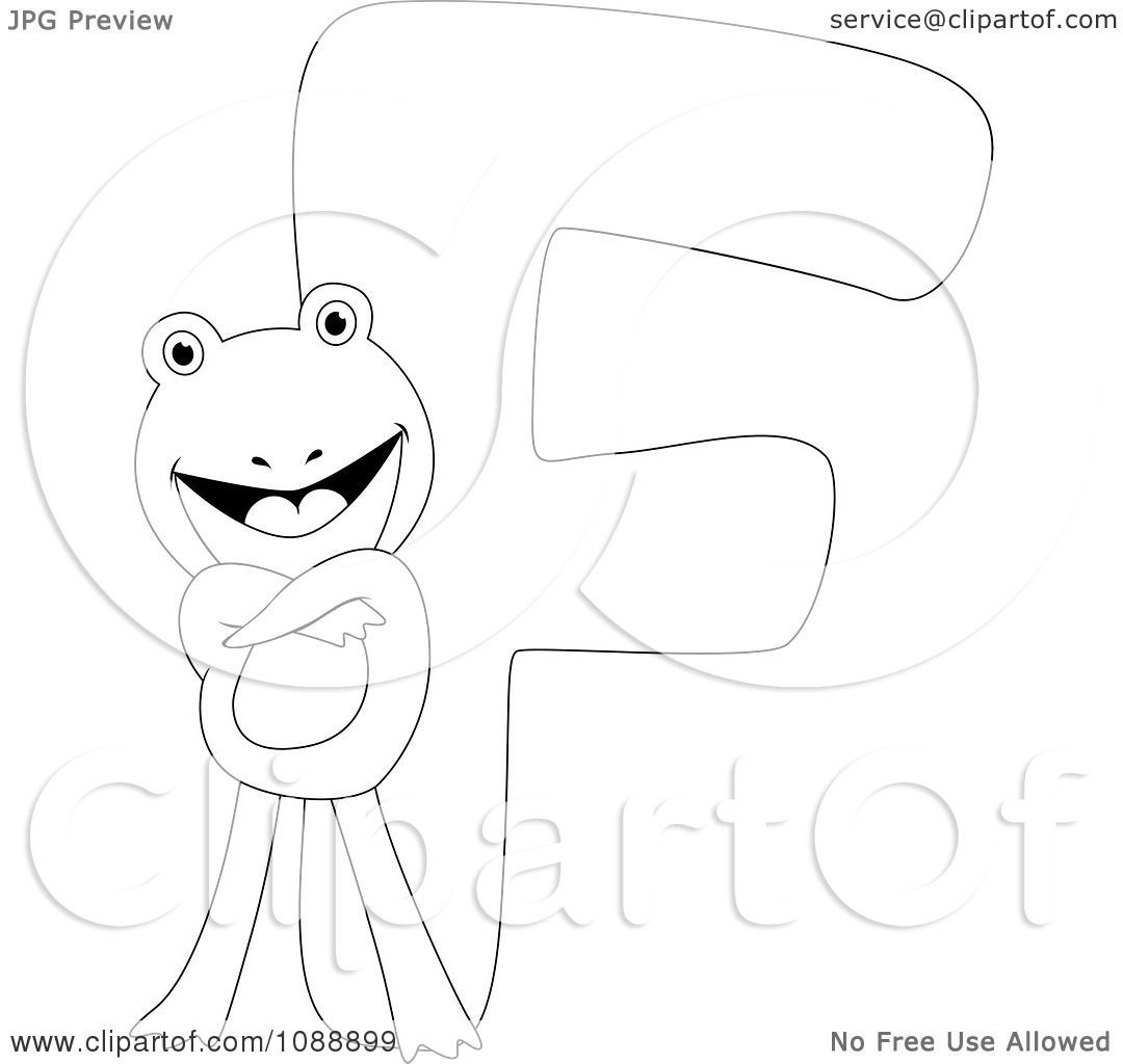 Clipart Outlined F Is For Frog Coloring Page