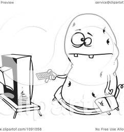 clipart outlined fat couch potato flipping through channels on the tv royalty free vector illustration [ 1080 x 1024 Pixel ]