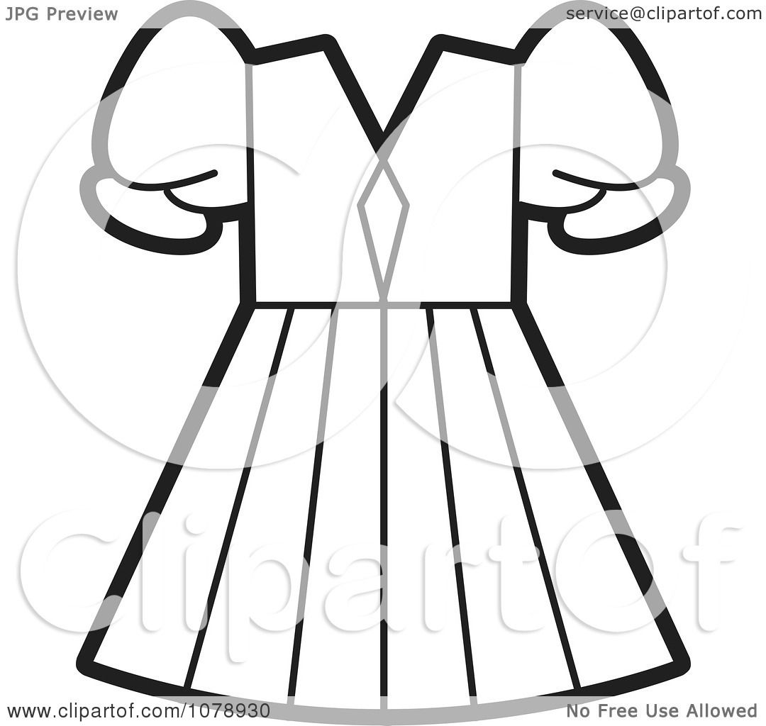 Clipart Outlined Girls Dress