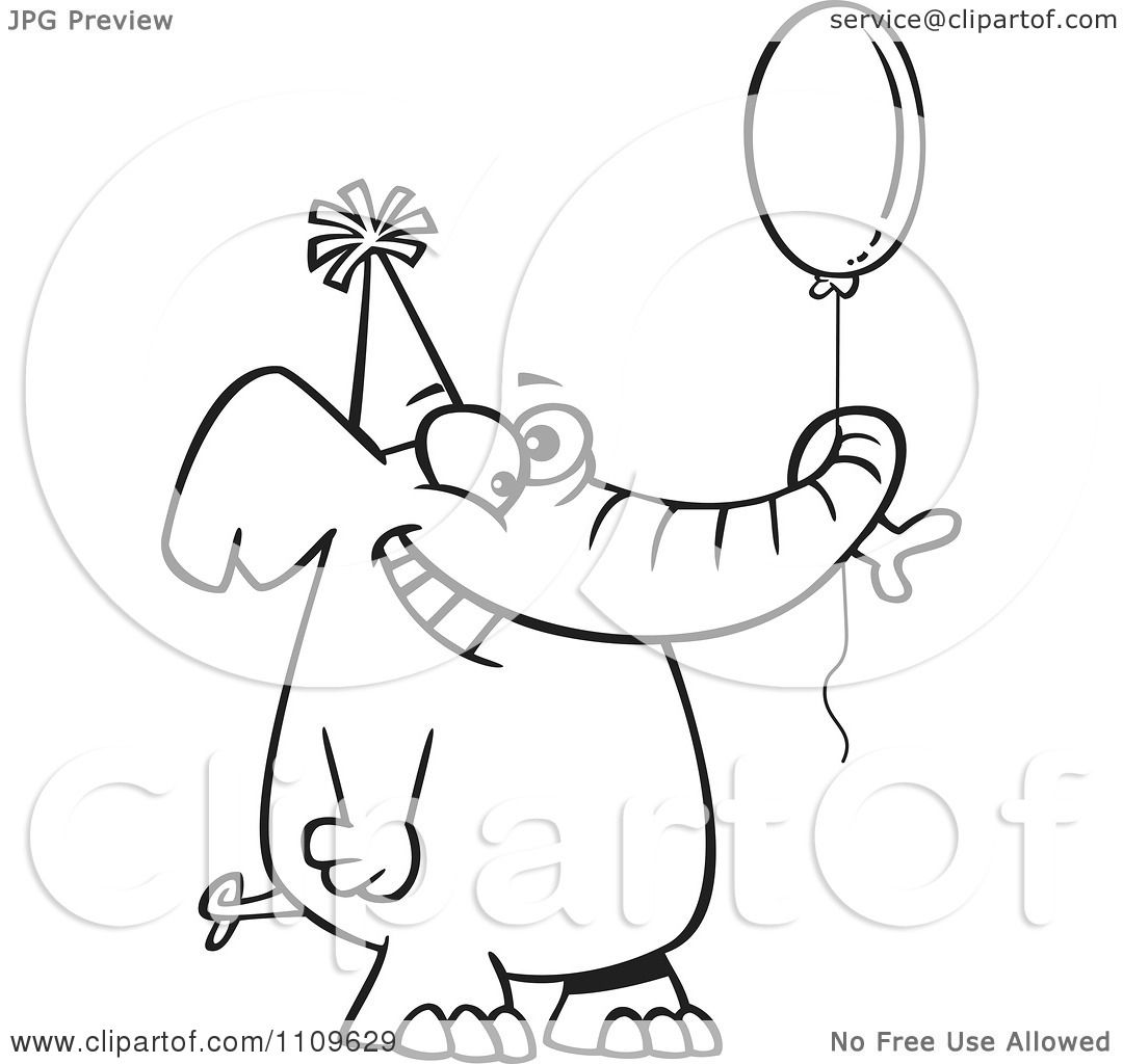 Clipart Outlined Happy Birthday Elephant Holding A Balloon