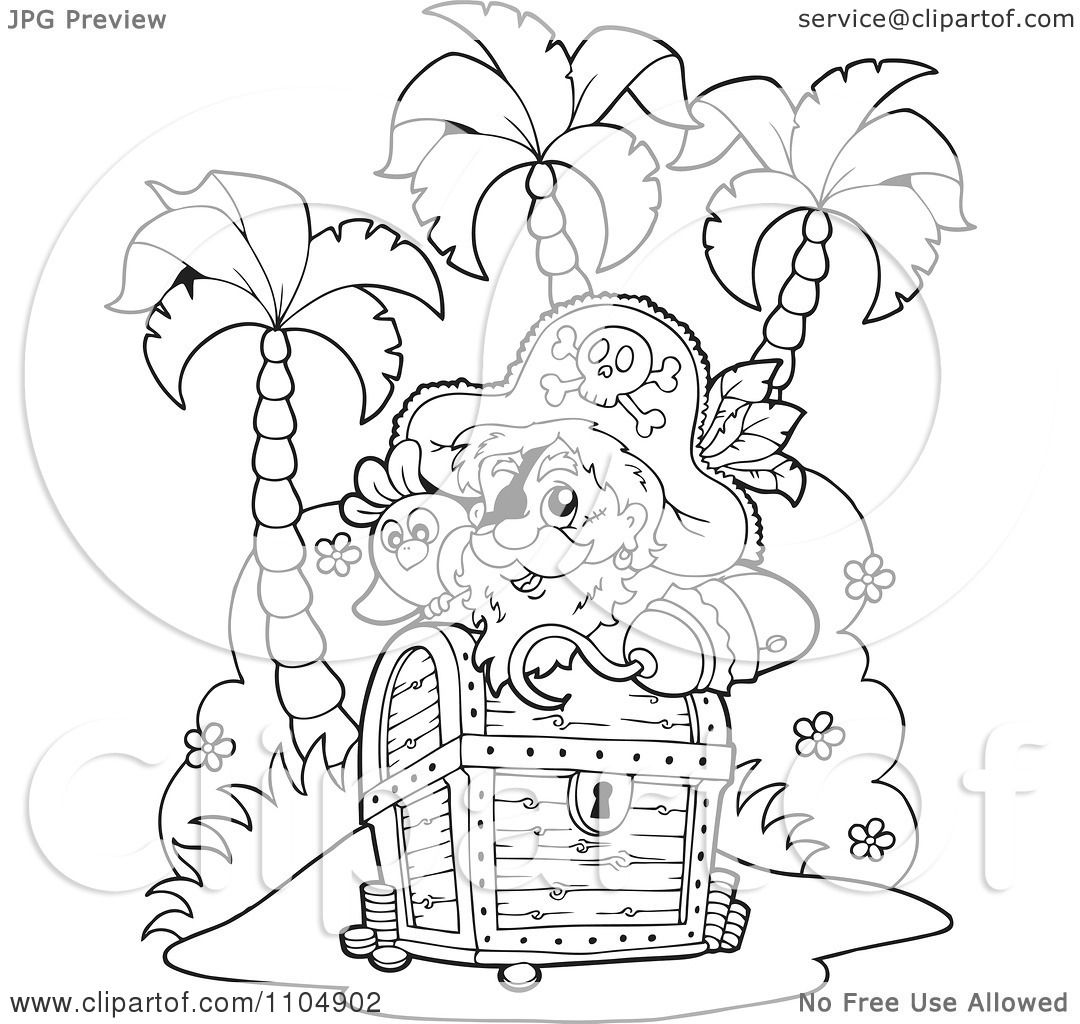 Clipart Outlined Hook Hand Pirate And Parrot On An Island