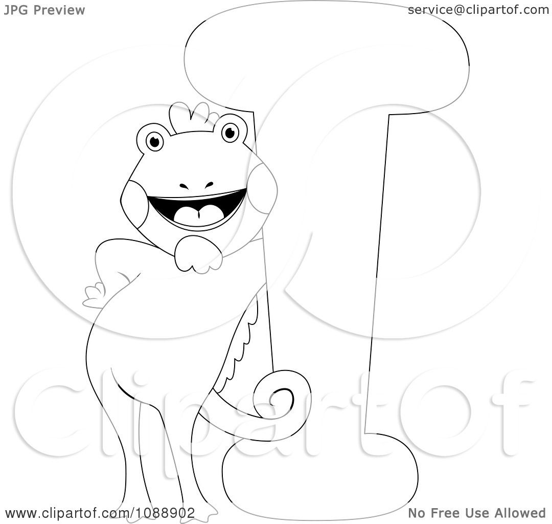Clipart Outlined I Is For Iguana Coloring Page