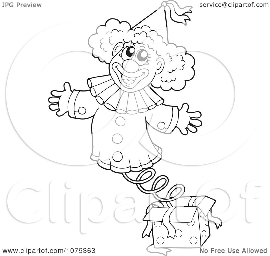 Clipart Outlined Jack In The Box Clown