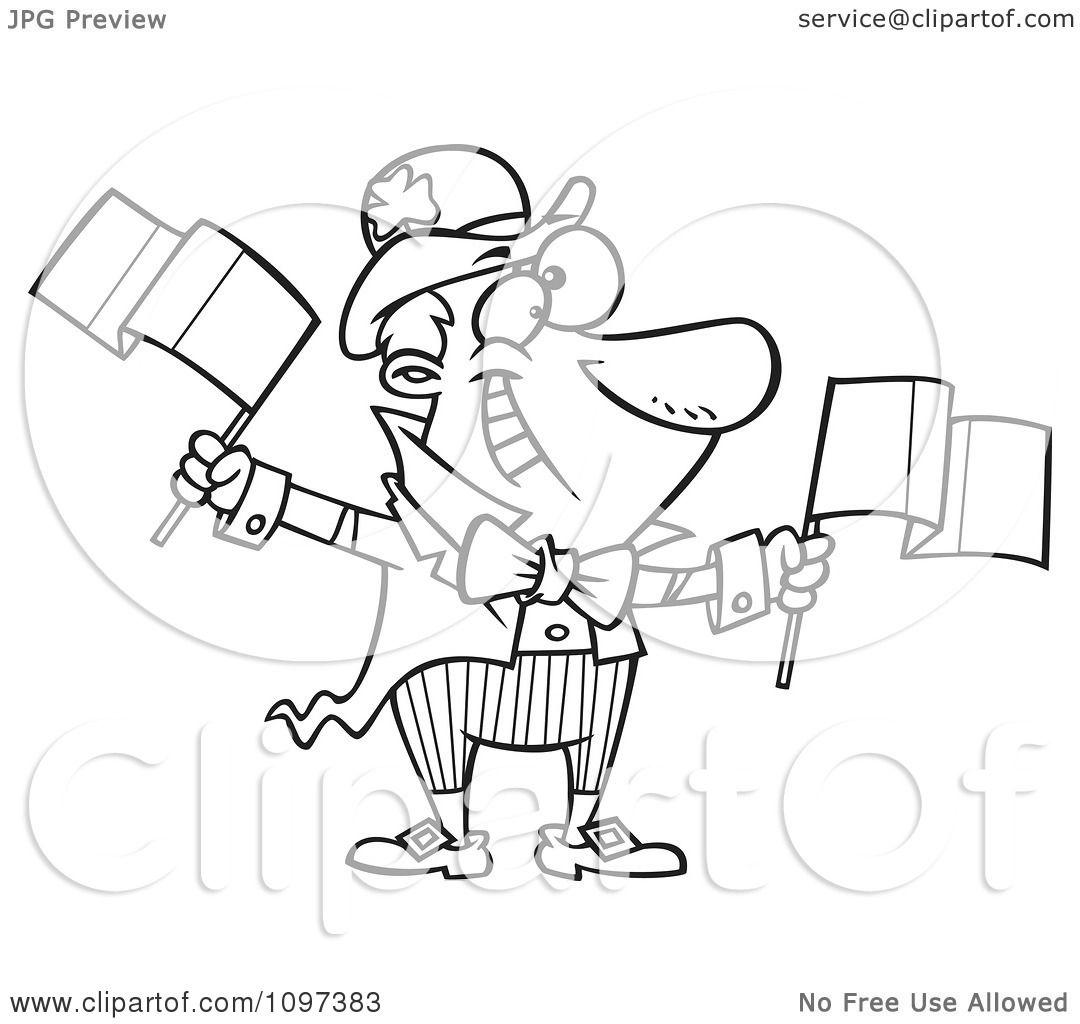 Clipart Outlined Jolly Irish Man Leprechaun Waving Two