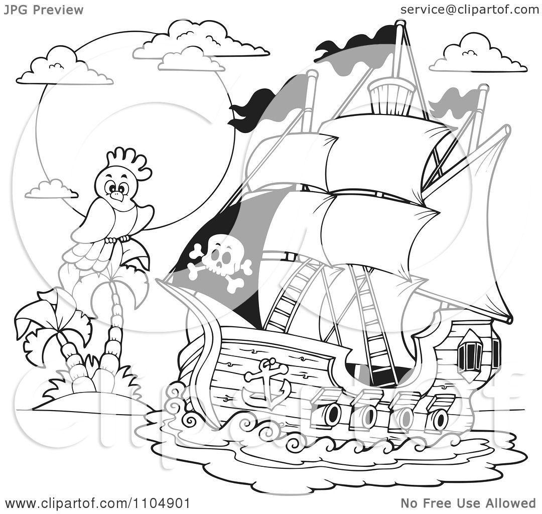 Clipart Outlined Parrot And Pirate Ship Near A Tropical