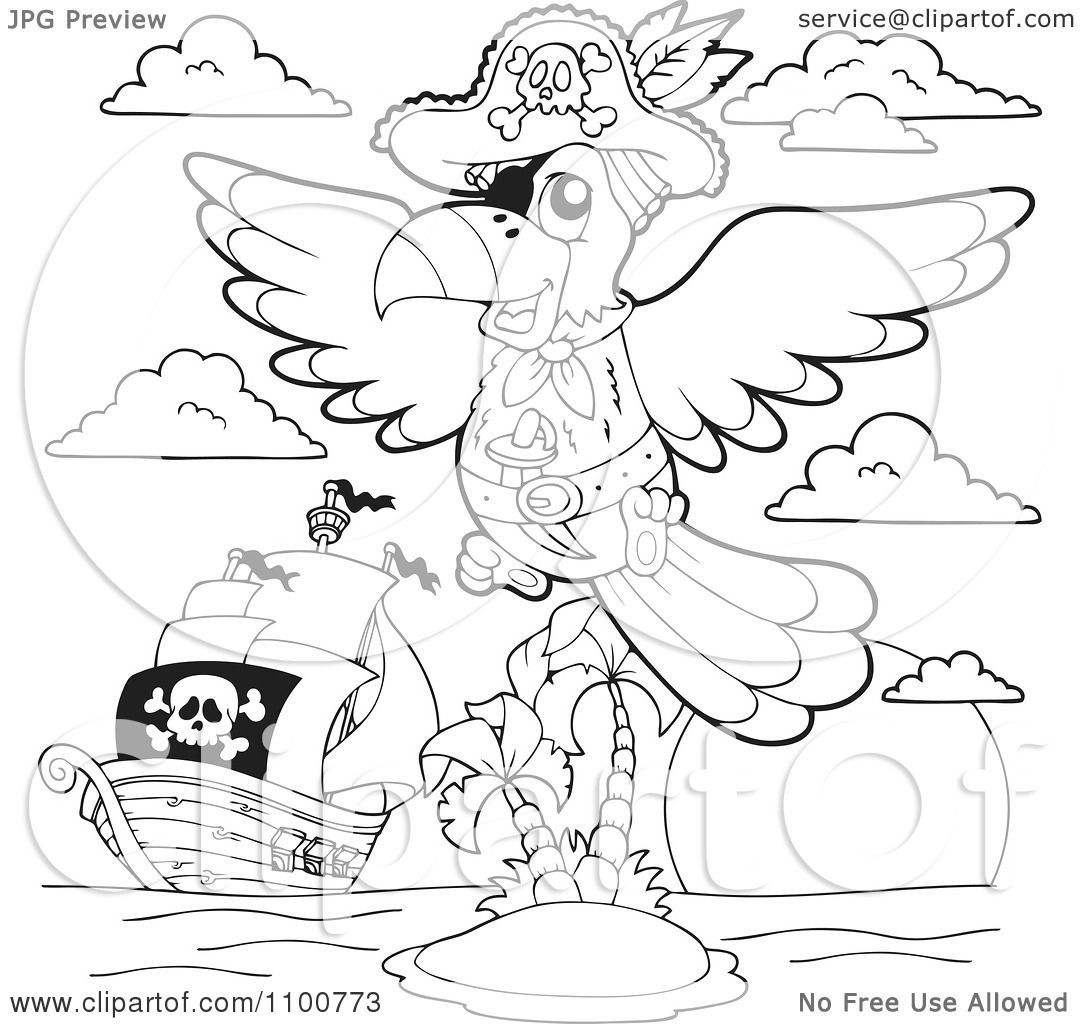 Clipart Outlined Parrot Pirate And Ship By An Island