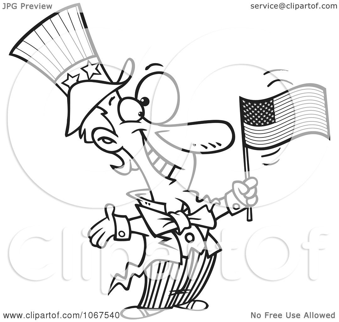 Clipart Outlined Patriotic Uncle Sam