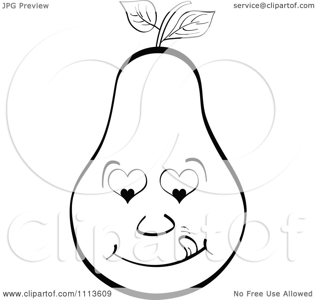 Clipart Outlined Pear Licking Its Lips