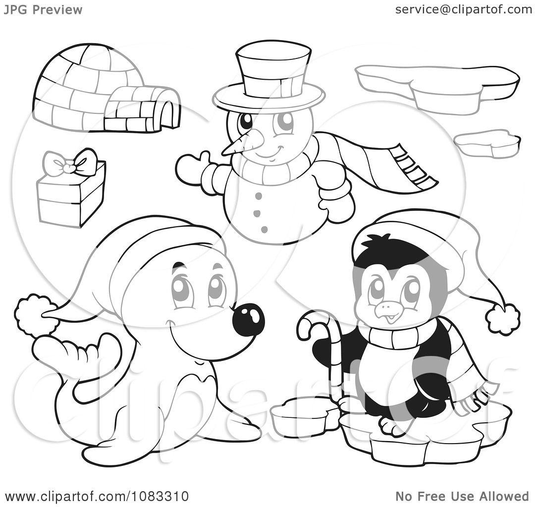 Snowman Penguin Bear Coloring Coloring Pages
