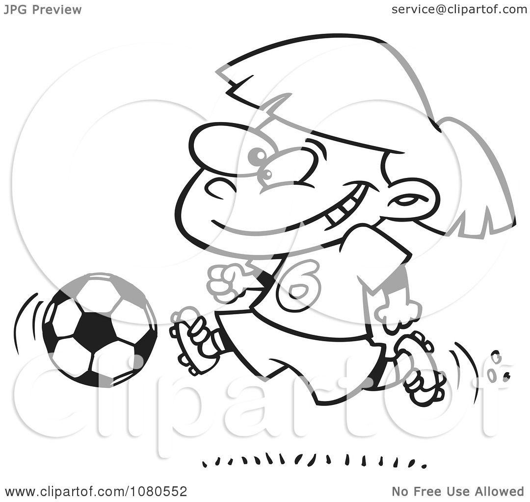 Clipart Outlined Soccer Girl Running