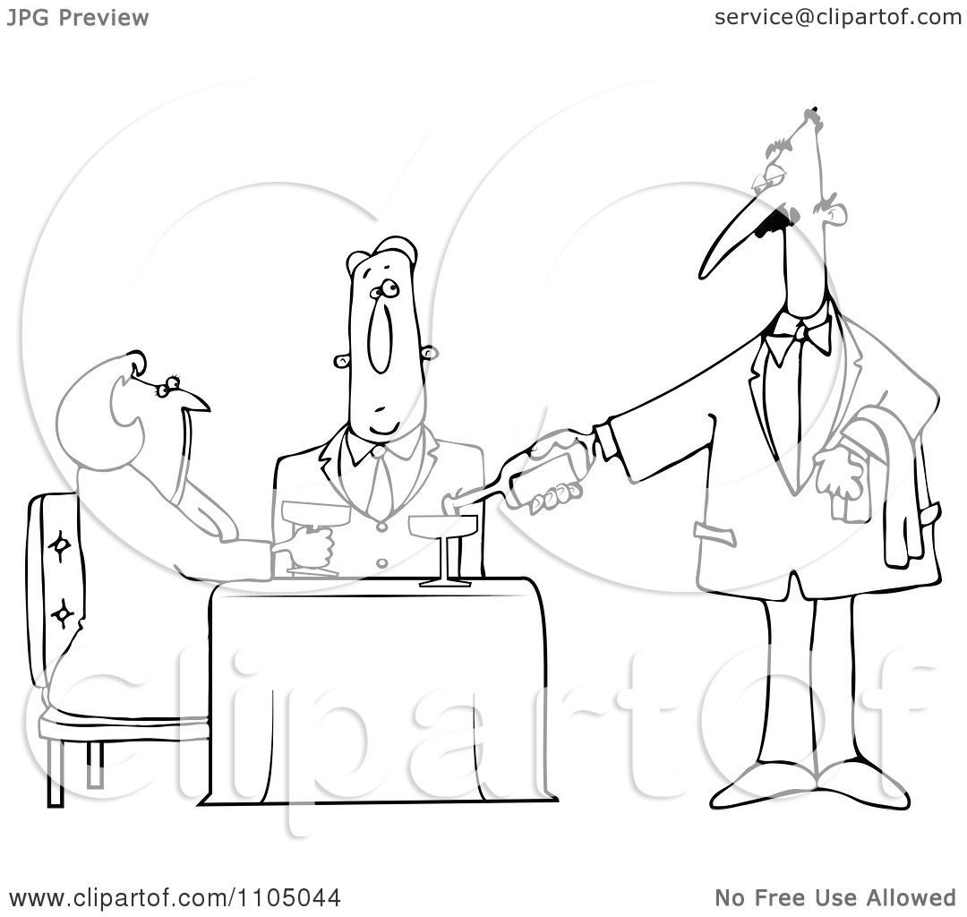 Clipart Outlined Waiter Serving Wine To A Couple At A Restaurant