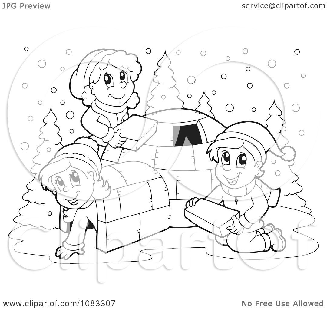 Clipart Outlined Winter Kids Making An Igloo