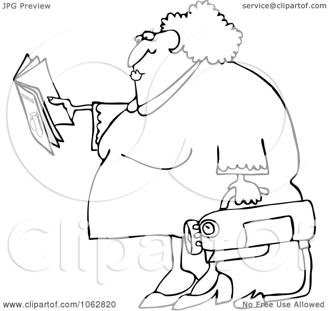 Clipart Outlined Woman Reading Extinguisher Manual
