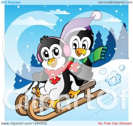 sledding penguins clipart visekart royalty vector copyright