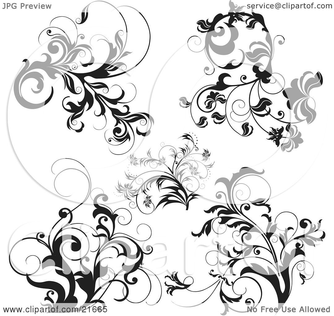 Clipart Picture Illustration of a Collection Of Black And