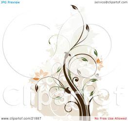 brown background faded clipart vine orange scrolls plant illustration onfocusmedia blossoms graphic