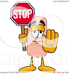 clipart picture of a bandaid bandage mascot cartoon character holding a stop sign by toons4biz [ 1080 x 1024 Pixel ]