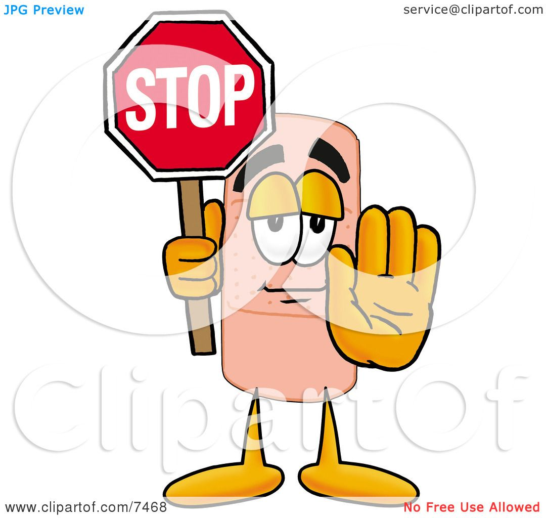 hight resolution of clipart picture of a bandaid bandage mascot cartoon character holding a stop sign by toons4biz