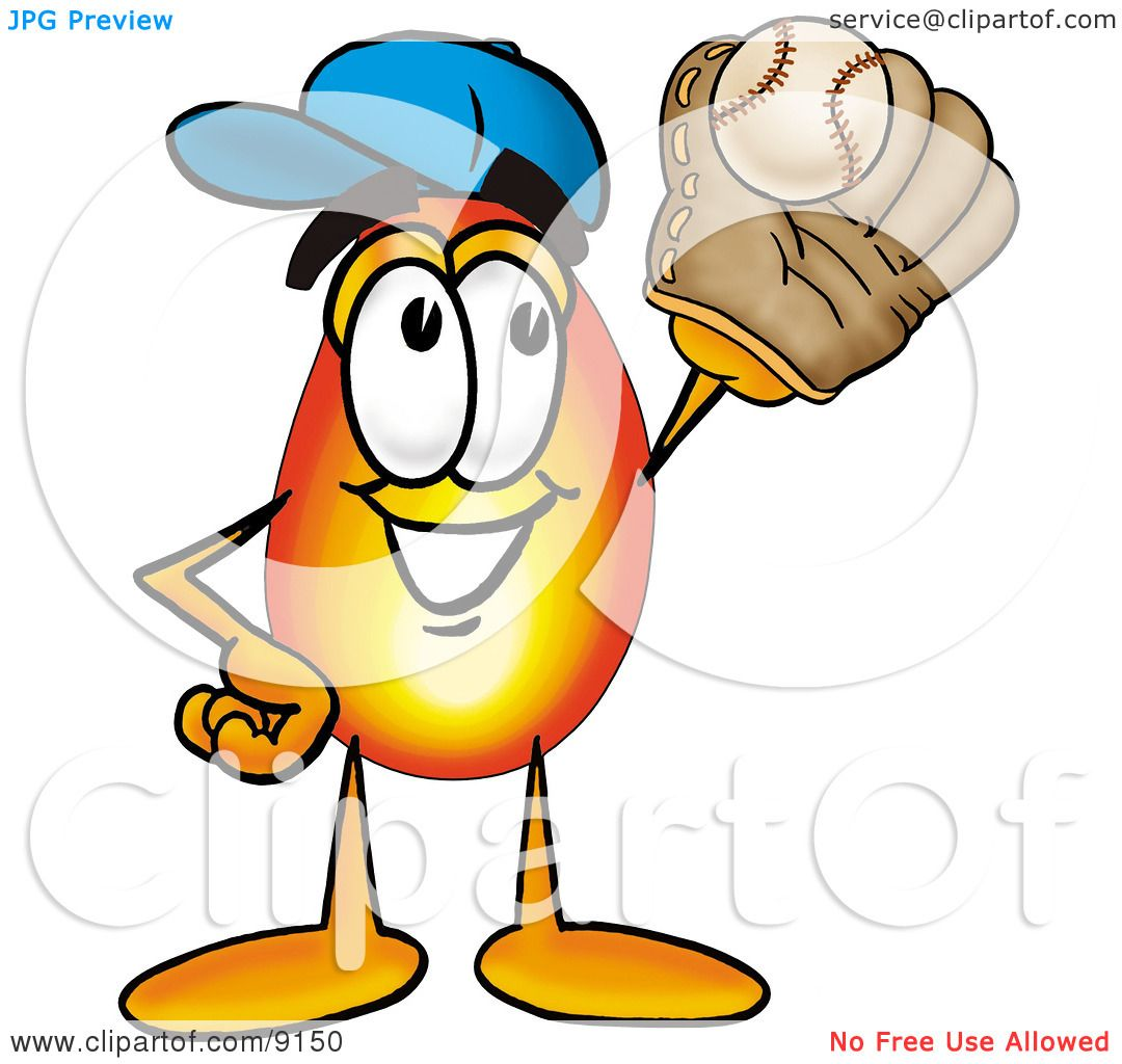 Clipart Picture of a Flame Mascot Cartoon Character Catching a Baseball With a Glove by Toons4Biz #9150