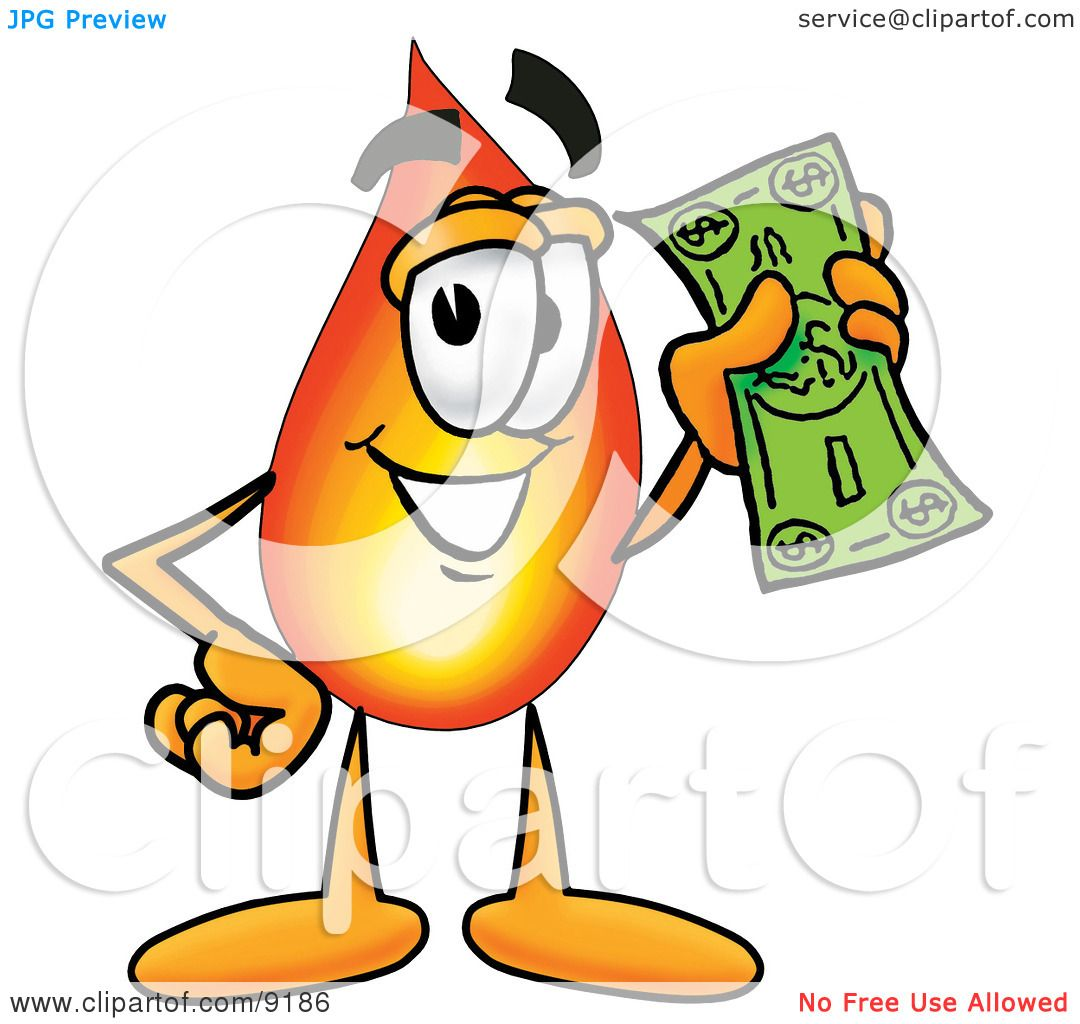 Clipart Picture of a Flame Mascot Cartoon Character Holding a Dollar Bill by Toons4Biz #9186