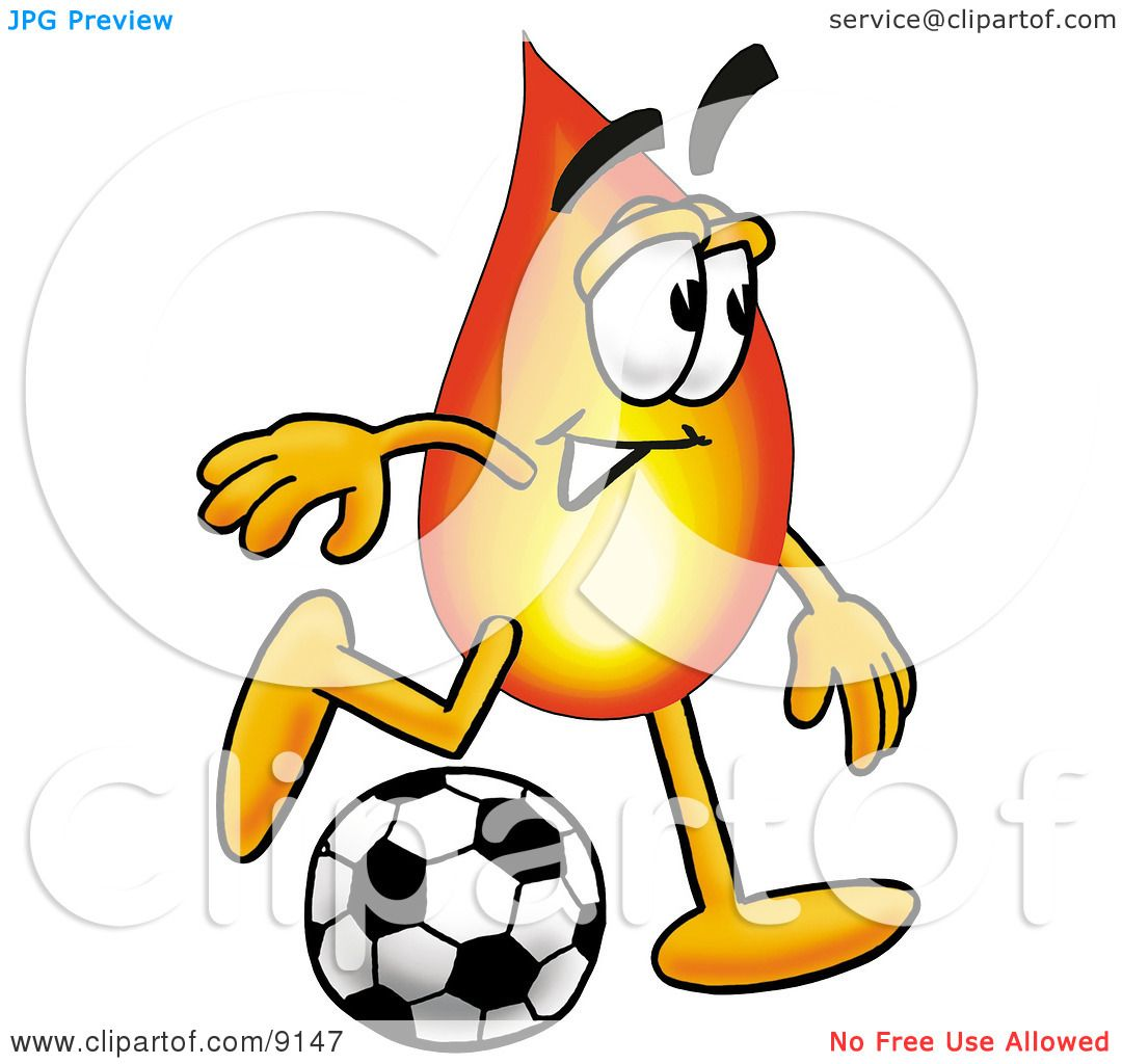 Clipart Picture of a Flame Mascot Cartoon Character Kicking a Soccer Ball by Toons4Biz #9147