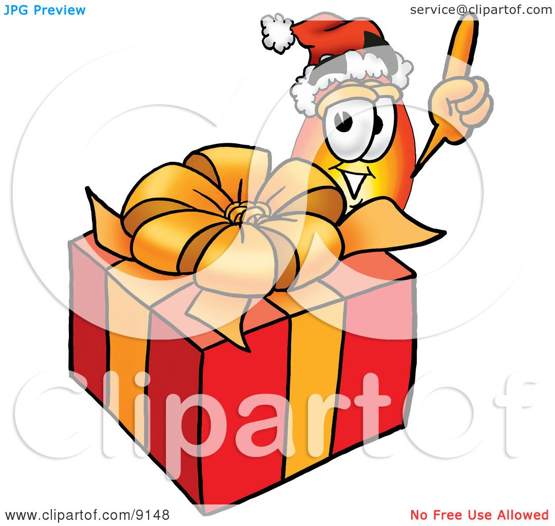 Clipart Picture of a Flame Mascot Cartoon Character Standing by a Christmas Present by Toons4Biz #9148