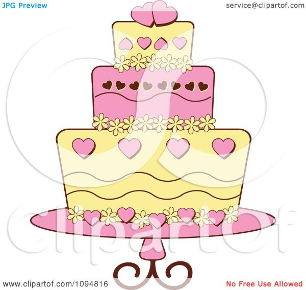 Clipart Pink And Yellow Heart And Floral Layered Fondant
