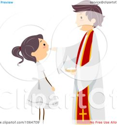 clipart priest and girl at a communion royalty free vector illustration by bnp design studio [ 1080 x 1024 Pixel ]