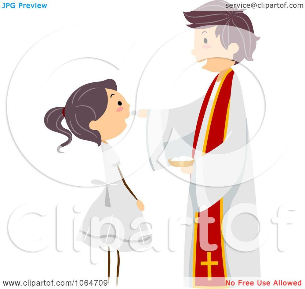 medium resolution of clipart priest and girl at a communion royalty free vector illustration by bnp design studio