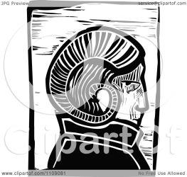 ram horn woodcut clipart headed illustration royalty vector xunantunich