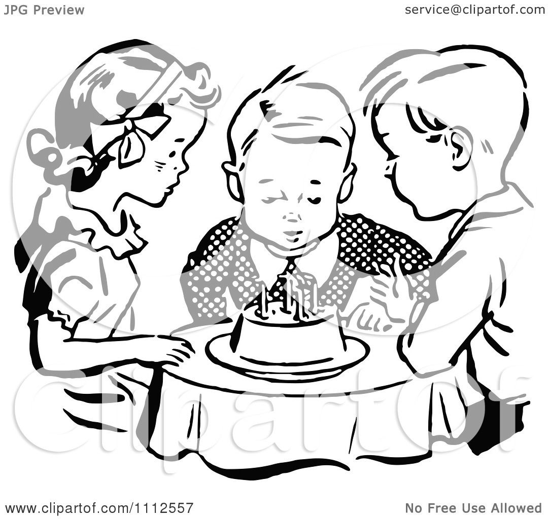 Clipart Retro Black And White Children Watching A Boy Blow