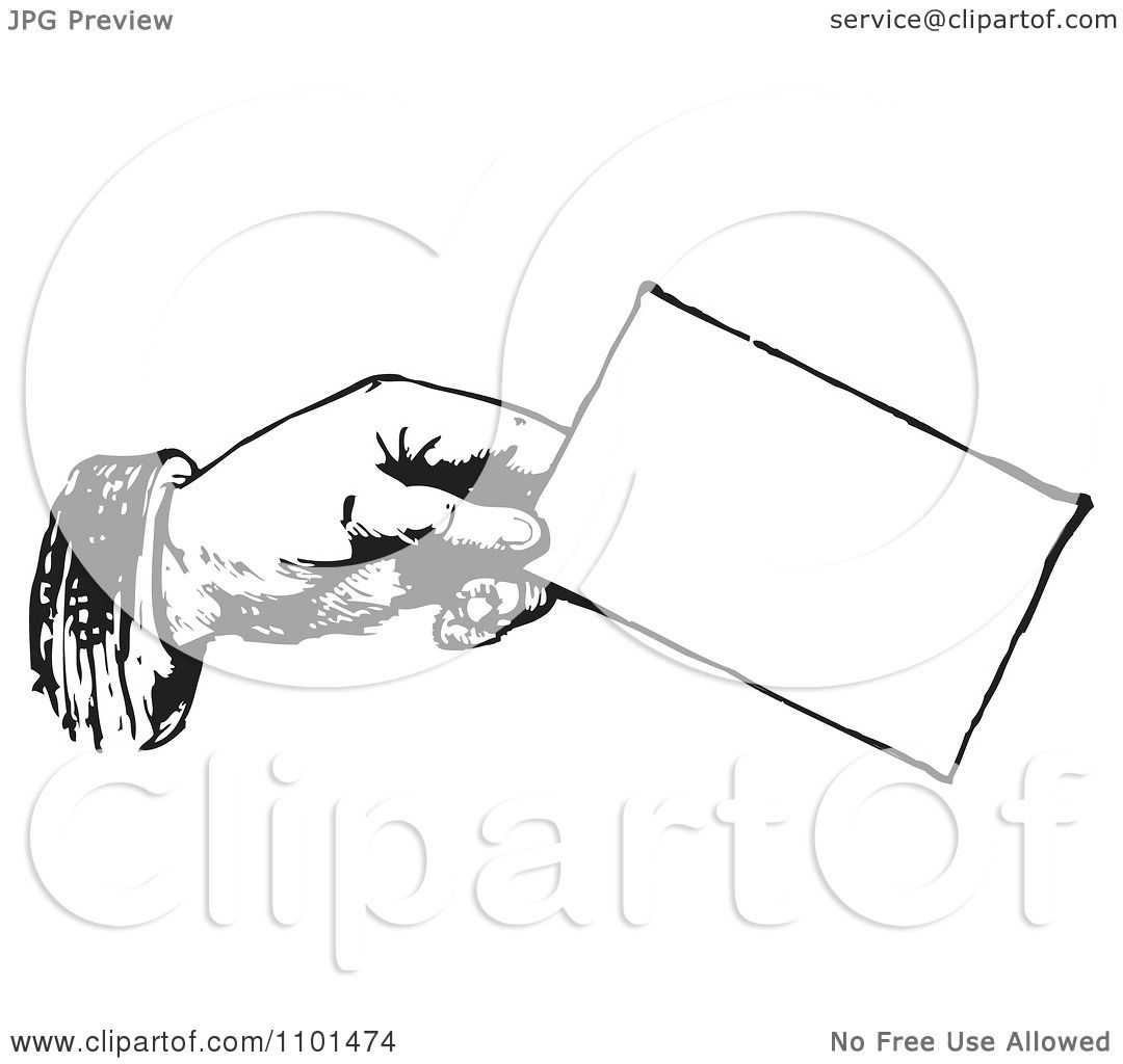 Clipart Retro Black And White Hand Holding A Business Card