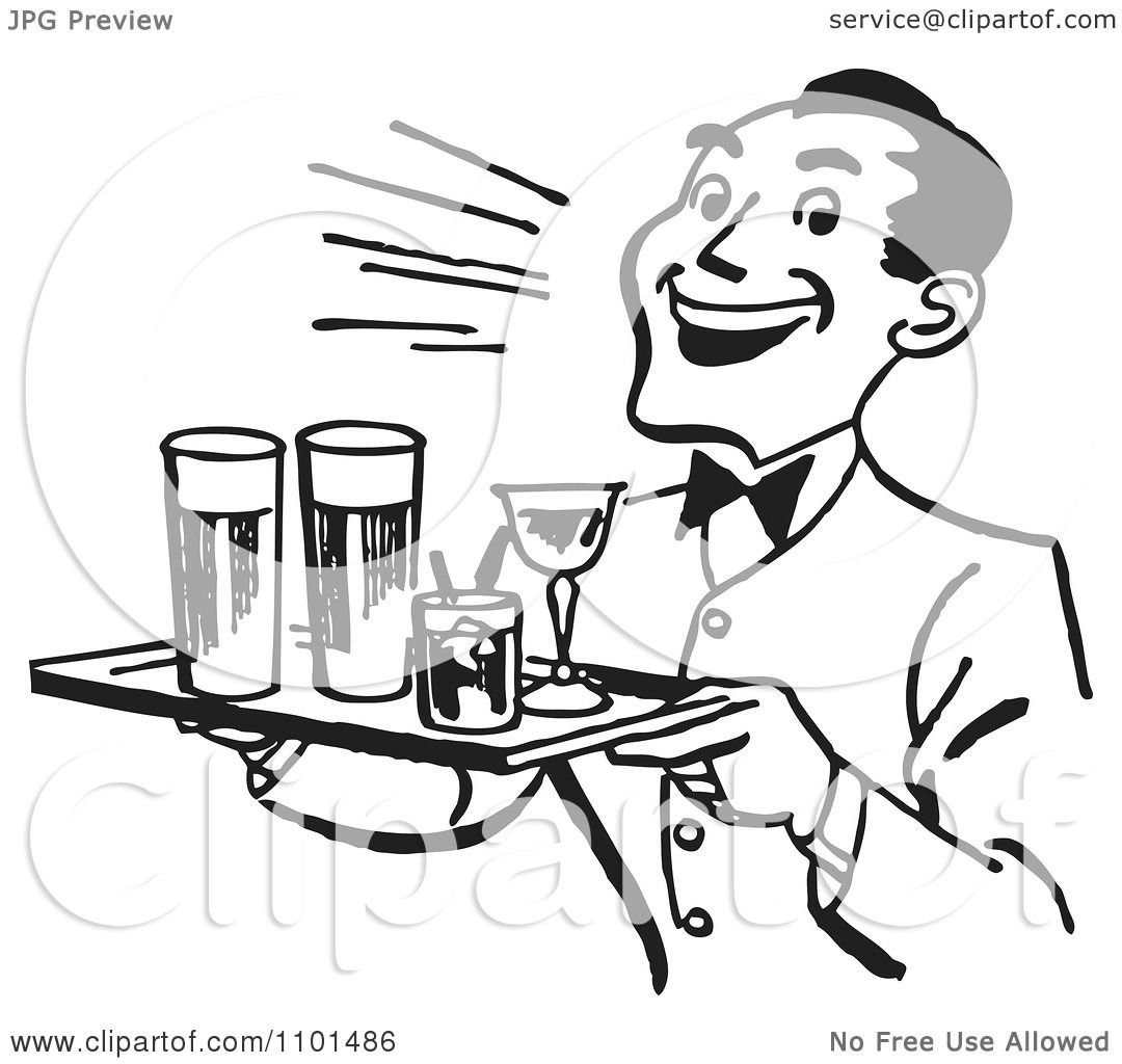 Clipart Retro Black And White Happy Waiter Serving Cocktails