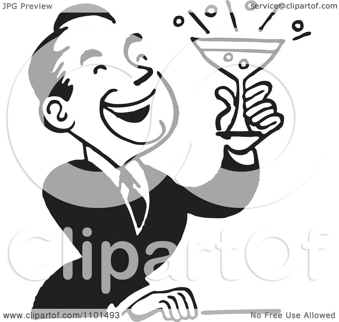 Clipart Retro Black And White Man Laughing And Holding A