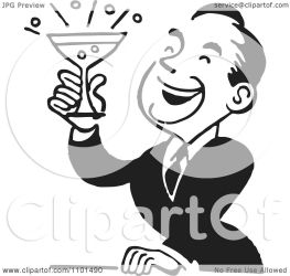 retro cocktail clipart smiling holding illustration vector royalty bestvector