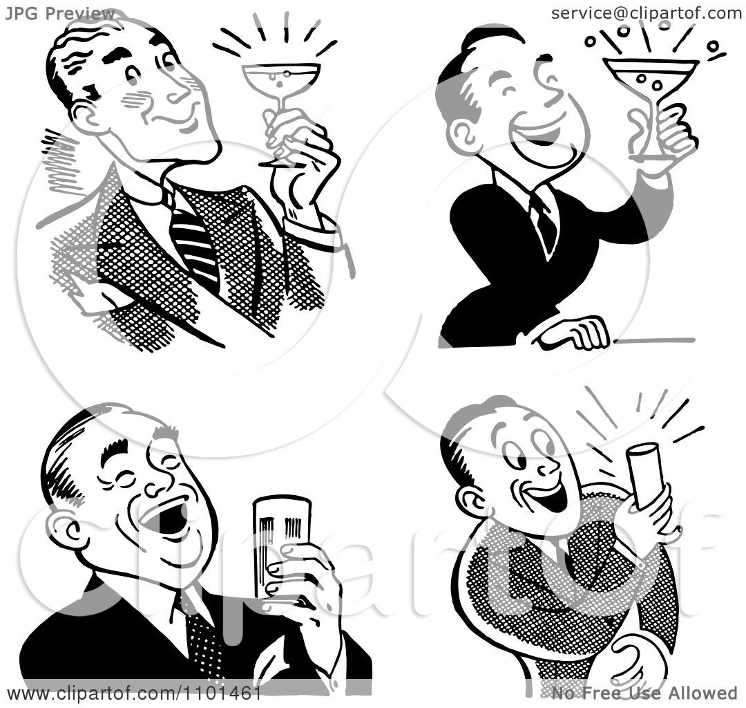 Clipart Retro Black And White Men Laughing And Holding